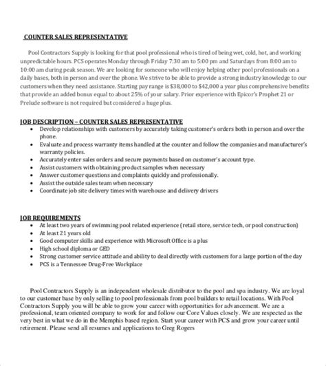 resume format counter salesman 9 sales representative description sles exles