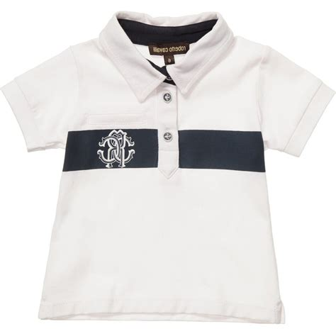 roberto cavalli baby boys white cotton jersey polo shirt