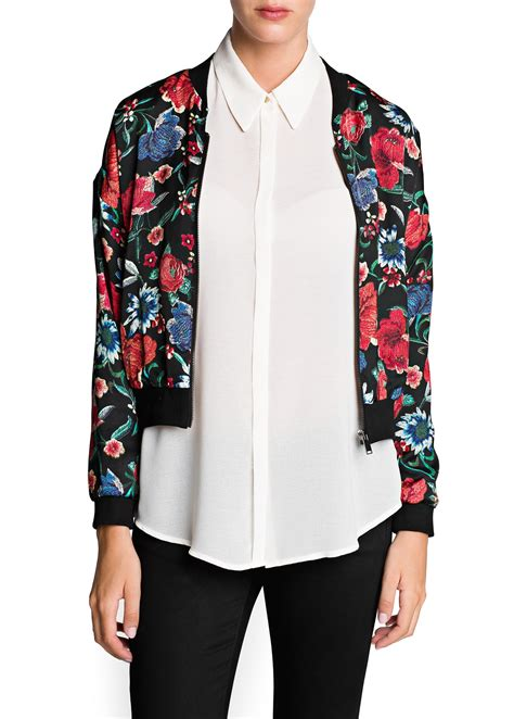 At974 Flowy Bomber Jacket lyst mango floral print bomber jacket in black