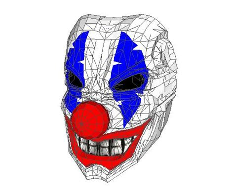 clown mask template payday 2 evil clown mask free papercraft