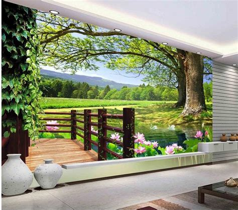 Contemporary Wall Murals Modern Wall 3d Murals Wallpaper Hd 3d Landscape Trees 3d