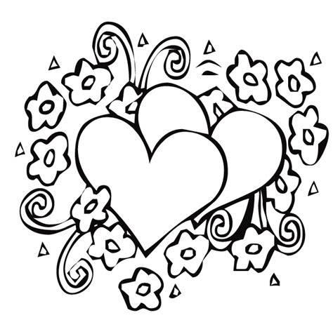Heart And Flower Coloring Pages Flower Coloring Page Hearts Coloring Page