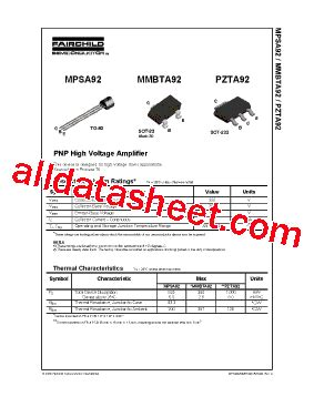 Mpsa92 Mpsa 92 mpsa92 데이터시트 pdf fairchild semiconductor