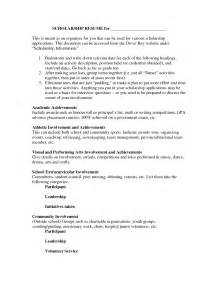 how to write a resume for scholarships sles of resumes