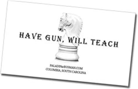 paladin business card template firearms instructor business cards images