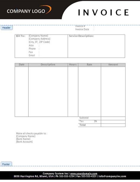 hourly service invoice template maintenance invoice template helloalive