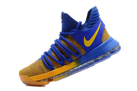 blue and yellow basketball shoes diversified designs nike kd 10 x kevin durant royal
