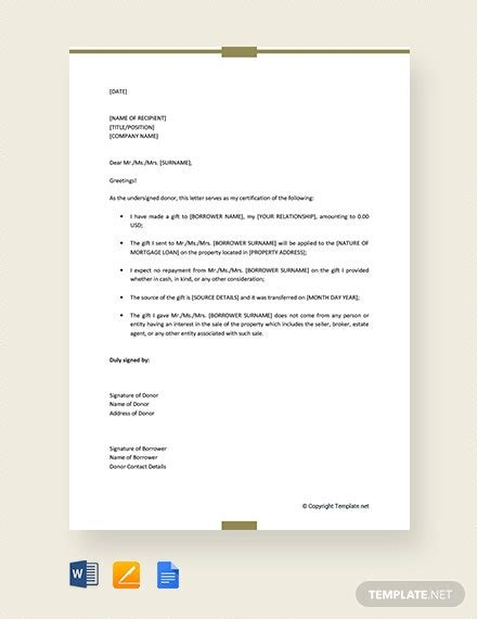 mortgage gift letter template template word