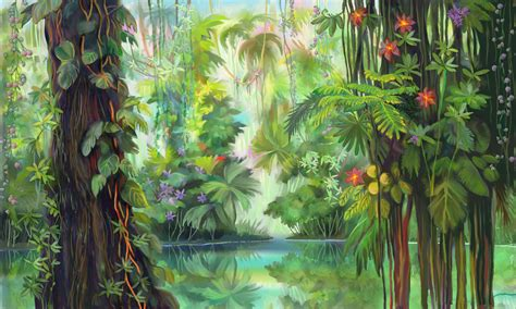 jungle painting luminescent jungle screensaver of luminescent