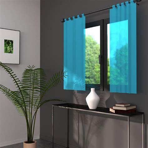 Rideau Bleu Pétrole 44 by Paire De Voilage 70 X H120 Cm Lido Turquoise Voilage