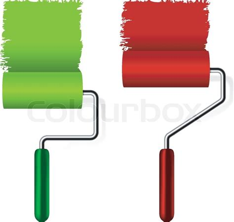 paint roller brush with paint on white background stock vector colourbox