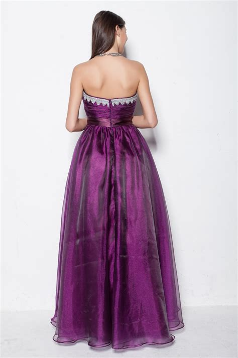 Purple Floor L by Floor Length Purple Strapless Sweetheart A Line Evening