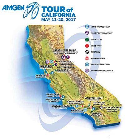 california map elevation route elevation maps amgen tour of california santa