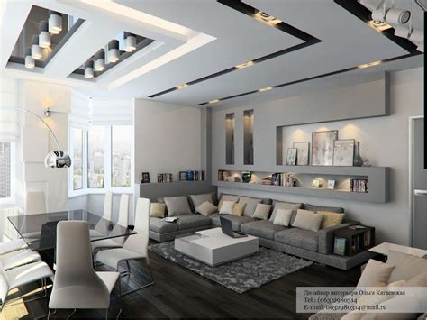 Grey Tone Living Room With Contemporary Cutaways On The Ceiling Decorating Ideas For Living Room