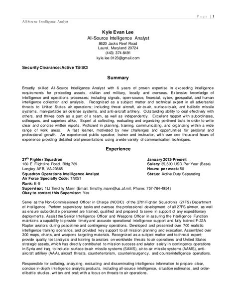 All Source Intelligence Analyst Sle Resume by Resume 2015