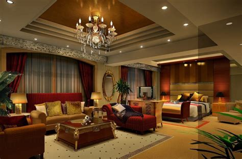 Livingroom Diningroom Combo Classical Living Room Bedroom Interior Design Rendering