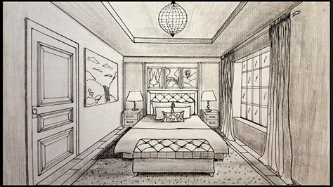 one point perspective bedroom drawings drawing a bedroom in one point perspective timelapse youtube
