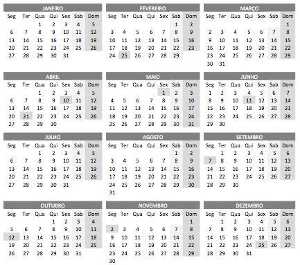 calendario   feriados  impressao calendario