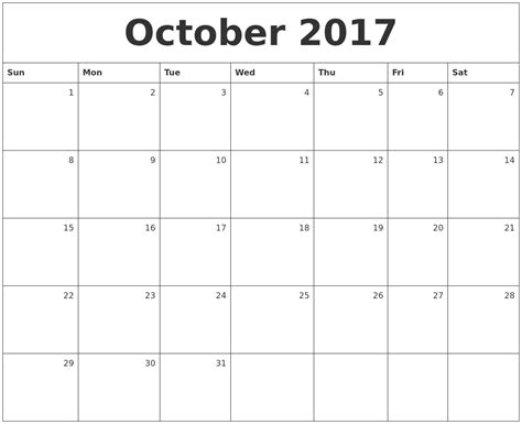 Calendar 2017 Monthly October May Printable Calendars By Month Calendar Template 2016