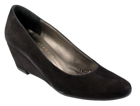 ravenna black suede formal wedge court shoes with