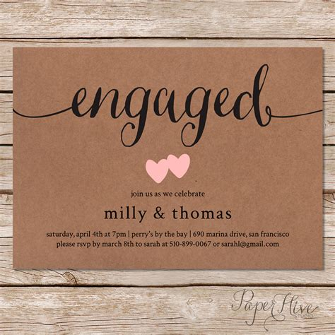 printable invitations engagement printable engagement party invitation rustic wedding