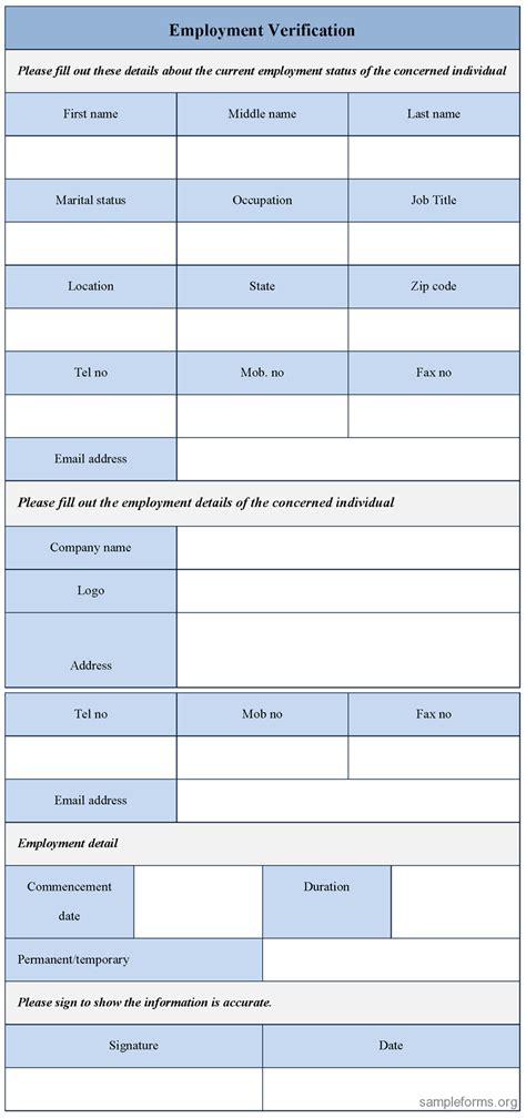 employment verification form sample employment
