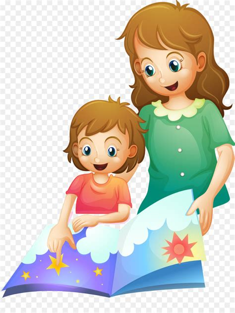 bedtime story clip art vector painted mother child png
