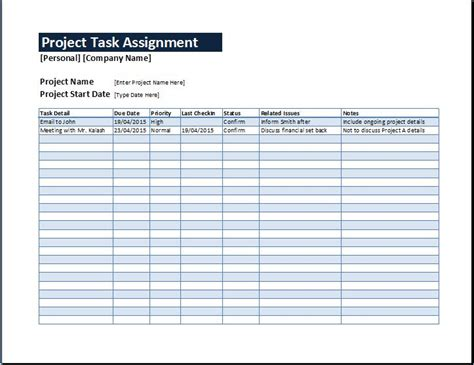 task template project task assignment management sheet word excel