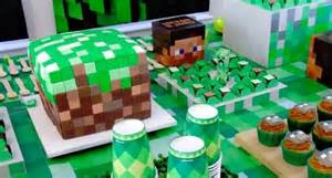 Cake and sweets from a minecraft birthday party via kara s party ideas
