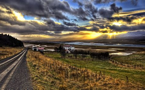 Landscape Photography Hdr Hdr Iceland Landscape The Farm On The Fjord At Sunset