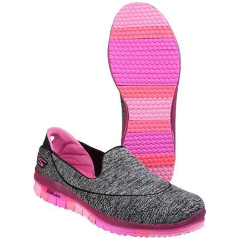 skechers go flex slip on sports shoe s black pink