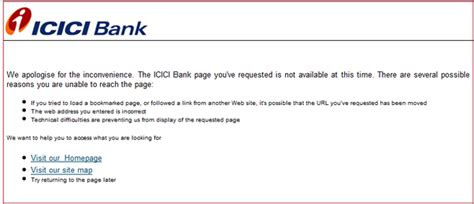 I Encountered An Error In The Icici Bank S Live Website