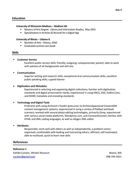 resume experience section format sidemcicek