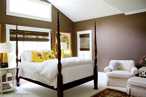 Country house brown and yellow master bedroom house mix
