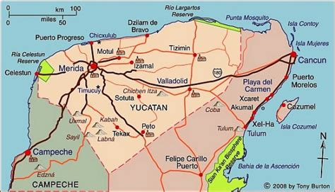 progreso mexico map map of yucat 225 n state including chichen itza progreso