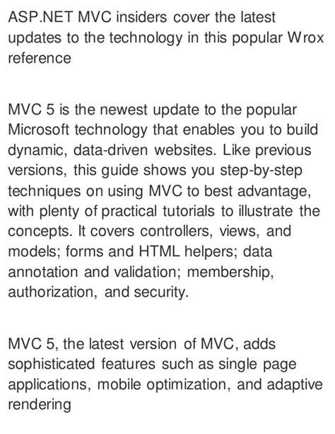 tutorial asp net mvc 5 pdf professional asp net mvc 5 1st edition pdf ebook full free