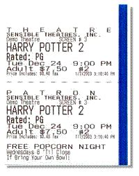 printed ticket font sensible cinema box office pro for dos