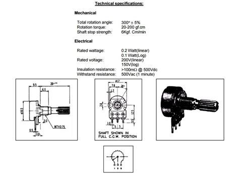 variable resistor connection datasheet potentiometers electronics ie