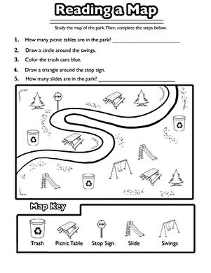 reading a map worksheet education com