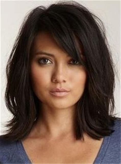 haircuts for 23 year eith medium hair loose messy lob medium wave synthetic hair with bangs