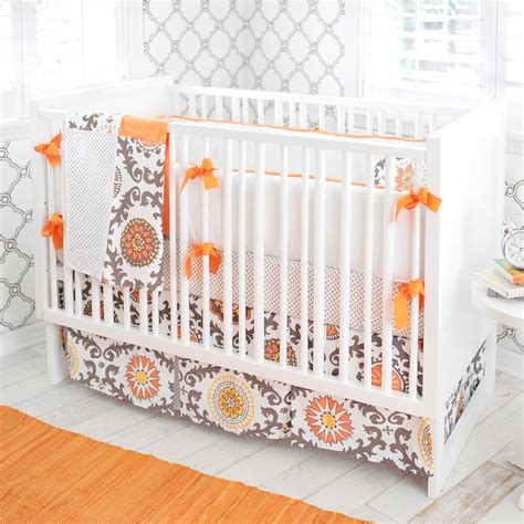 Gray And Orange Contemporary Nursery Bedding Crib Bedding Orange