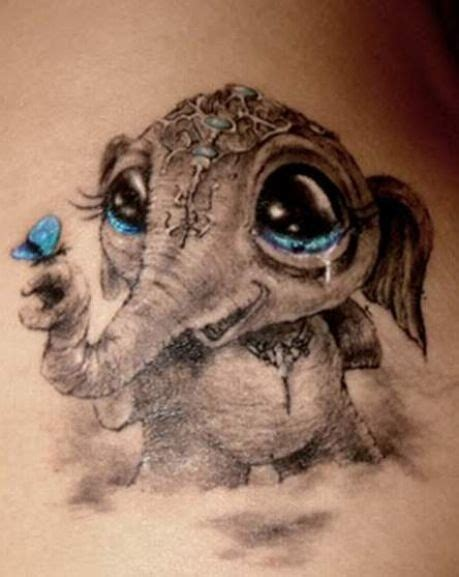 3d style cute little crying baby elephant with butterfly