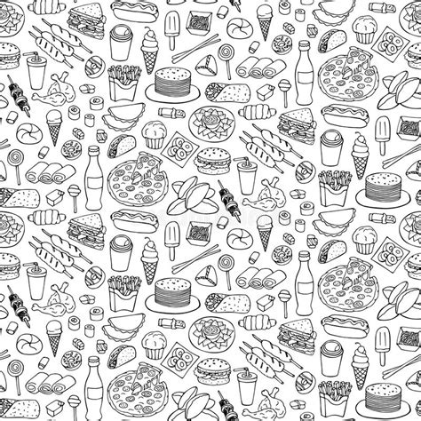Fast Food Doodle Seamless Pattern Stock Vector Image