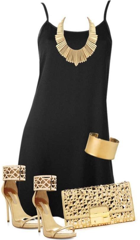 black dress  golden clutch heels  jewelry