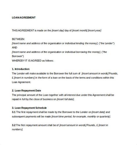 loan agreement template word document loan agreement template 11 free word pdf documents
