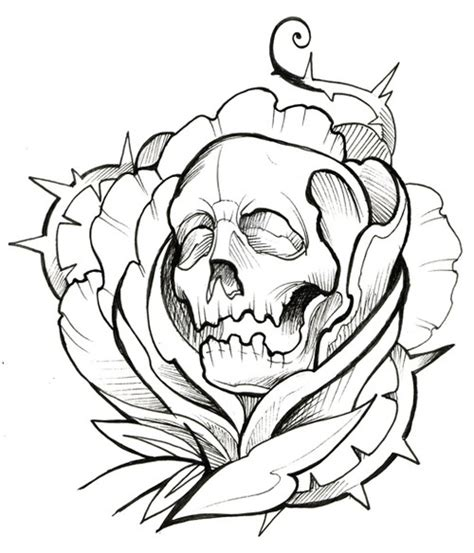 skull thorns rose ink tattoo outline tattoo outlines