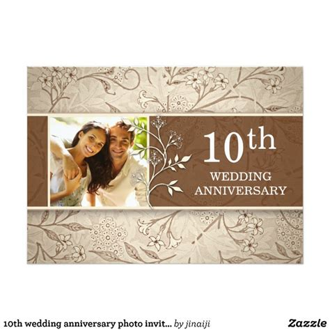 10th wedding anniversary invitation wording 10th wedding anniversary photo invitations zazzle