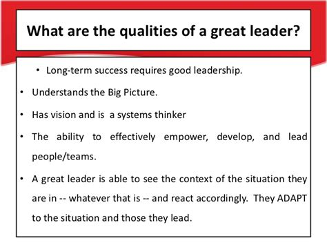 What Leadership Qualities Does Mba Provide by Leadership Qualities Ppt
