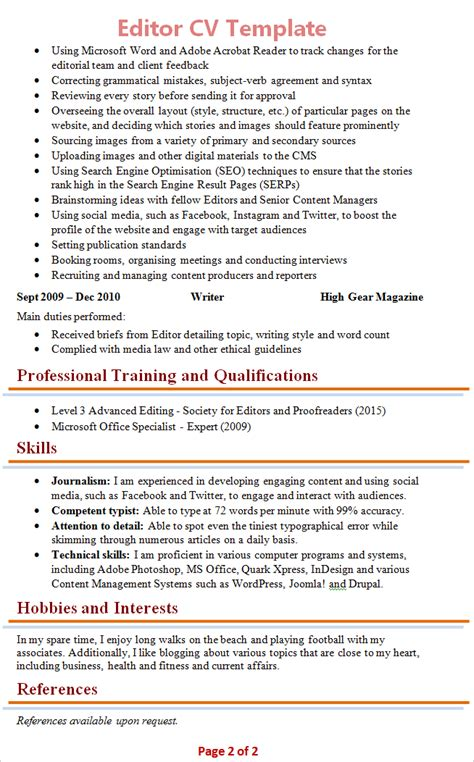 Chief Editor Sle Resume by Editor Resume Template 28 Images Editor Resume Sle