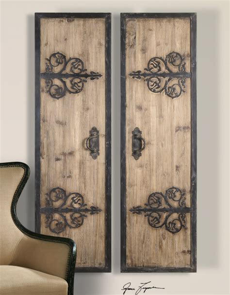 rustic wall art 2 xl decorative rustic wood wrought iron wall art panels